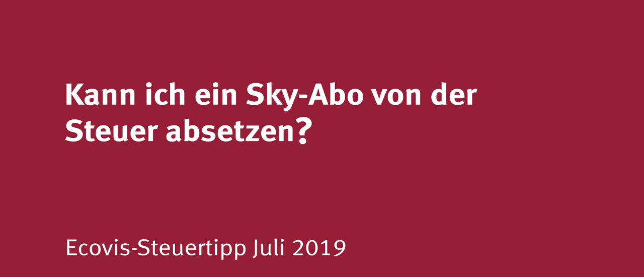 Kann ein Trainer sein Sky-Abo absetzen?